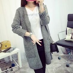 FR - Open Front Chunky Knit Long Cardigan