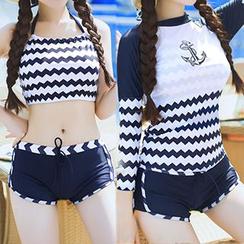 Sweet Splash - 套装: 配色边坦基尼上衣 + 泳裤 + 防晒衣