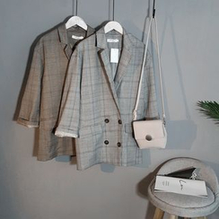 Coolvibe - Plaid Double-Breasted Jacket