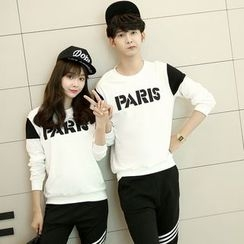 Je T'aime - Couple Matching Contrast Letter Long-Sleeve T-shirt