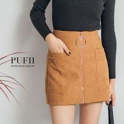 PUFII - 高腰口袋圓環拉鍊燈心絨短褲裙