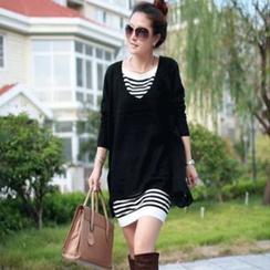 Bonne Nuit - 套裝: V領針織上衣 + 條紋連衣裙