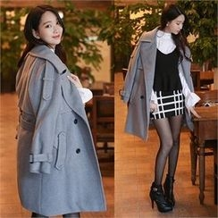 One's Ozzang - Double-Breasted Trench Coat with Belt