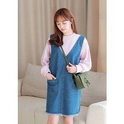J-ANN - Fringe-Hem Dual-Pocket Denim Jumper Dress