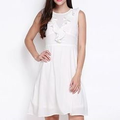 Obel - Sleeveless Ruffle Trim Dress