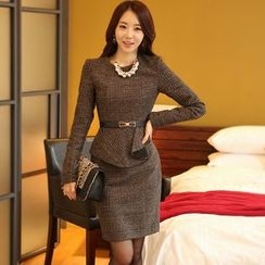 Eleganza - Plaid Long Sleeve Peplum Dress
