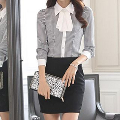 Caroe - Set: Striped Chiffon Shirt + Pencil Skirt