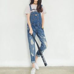 Angel Shine - Distressed Denim Dungaree