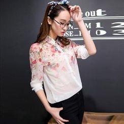 Colorful Shop - Long-Sleeve Floral Chiffon Shirt