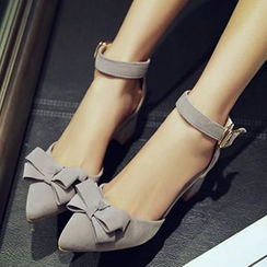 miindra - Bow Ankle Strap Block Heel Pumps