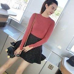 lilygirl - 純色長袖針織上衣