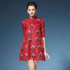 Elabo - Floral Embroidered Elbow-Sleeve Cheongsam
