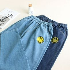 Mushi - Smiley Embroidered Straight-Cut Jeans