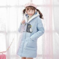Moriville - Penguin Print Hooded Padded Coat