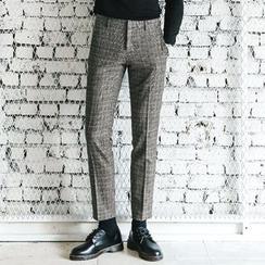 MEOSIDDA - Glen-Plaid Tapered Dress Pants