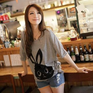 Bow-Accent 'Rabbit' Print Long T-Shirt