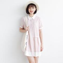 Forest Girl - Short-Sleeve Collared Dress