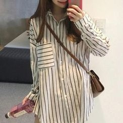 Dute - 套装: 条纹长衬衫 + V领针织背带裙