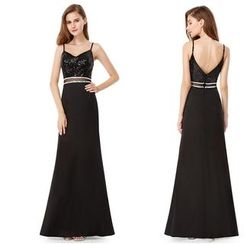 Ever Pretty - Strappy Sequined Panel Evening Gown