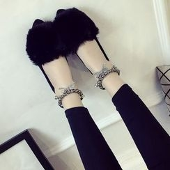 Micha - Ankle Strap Furry Flats