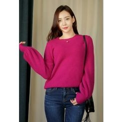 REDOPIN - Puff-Sleeve Wool Blend Knit Top