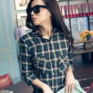 PUFII - Studded-Accent Long-Sleeve Plaid Blouse