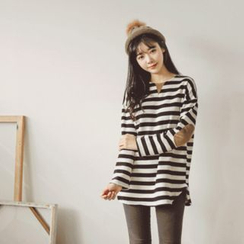 JUSTONE - Elbow-Patch Brushed-Fleece Lined Stripe T-Shirt