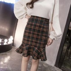 Shiga - 格子荷叶摆铅笔裙
