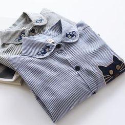 布丁坊 - 猫贴布绣条纹衬衫