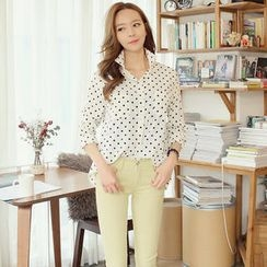 REDOPIN - Long-Sleeve Polka-Dot Shirt