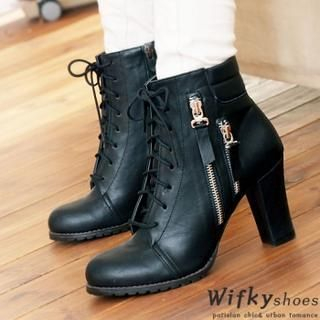 Wifky - Lace-Up Zip-Up Ankle Boots