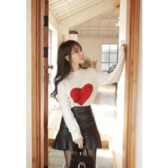 MyFiona - Crew-Neck Heart Embroidered Sweater