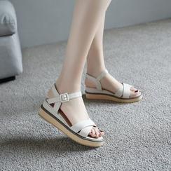 Megan - Cross-Strap Platform Sandals