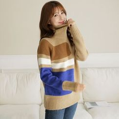 CLICK - Wool Blend Color-Block Sweater