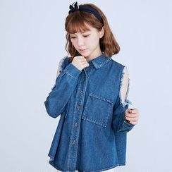 BAIMOMO - Long-Sleeve Cutout Denim Blouse