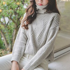 JUSTONE - Textured Turtleneck Sweater
