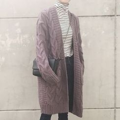 Dute - Cable Knit Long Cardigan