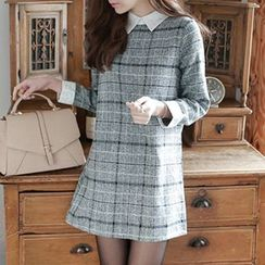 Jolly Club - Mock Two-Piece Plaid Dress
