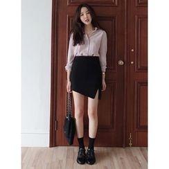 maybe-baby - Asymmetric-Hem Slit-Side Skirt
