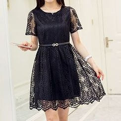 Arroba - Short-Sleeve Lace Dress