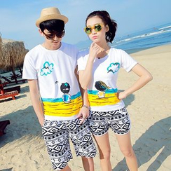 NINETTE - Set: Couple Printed T-Shirt + Beach Shorts
