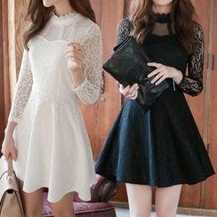 Fashion Street - Lace Panel Long-Sleeve Dress