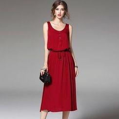 Y:Q - Plain Gathered Waist Sleeveless Midi Dress