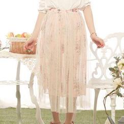 Tokyo Fashion - Mesh-Overlay Floral Long Skirt