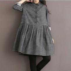 Clover Dream - Long-Sleeve Striped Pleated Dress