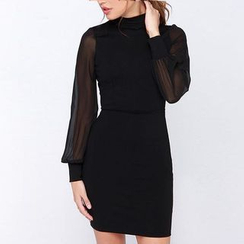 Katemi - Long-Sleeve Cutout-Back Sheath Dress