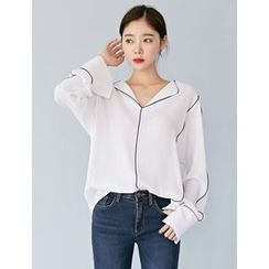 FROMBEGINNING - Long-Sleeve Piped Blouse