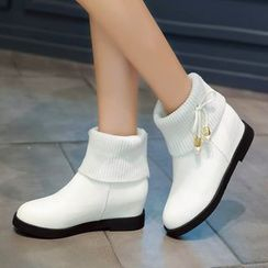 Shoes Galore - Knit Panel Ankle Boots