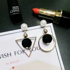 PERILLA - Non Matching Hoop Drop Earrings