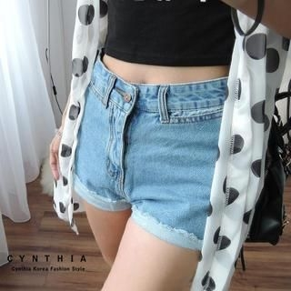 CYNTHIA - High-Waist Fray-Hem Denim Shorts